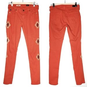 AG The Legging In Santa Fe Orange Tribal 27 R